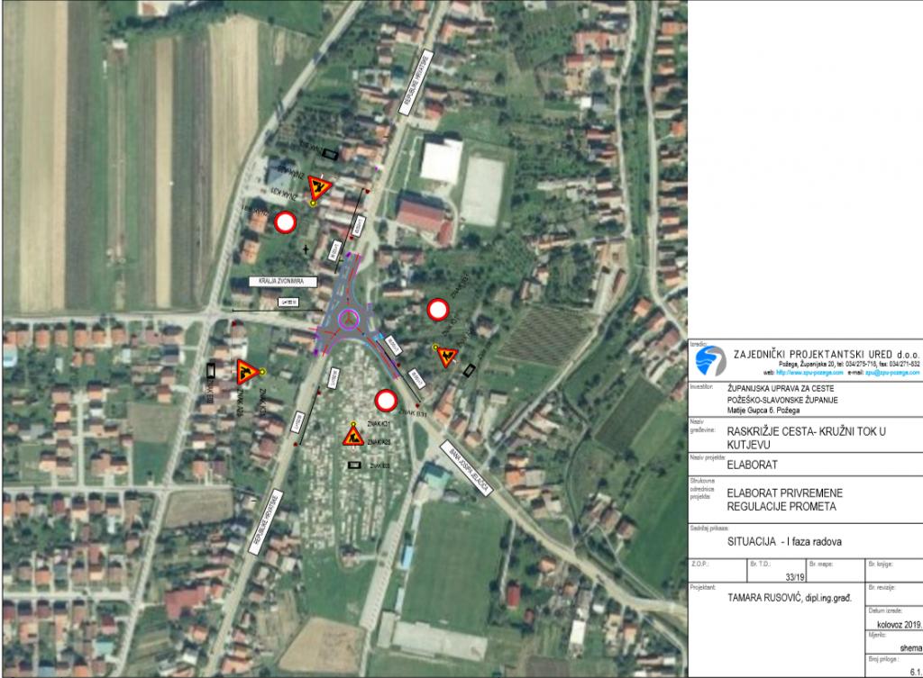 Izgradnja kružnog toka u Kutjevu – privremena regulacija prometa
