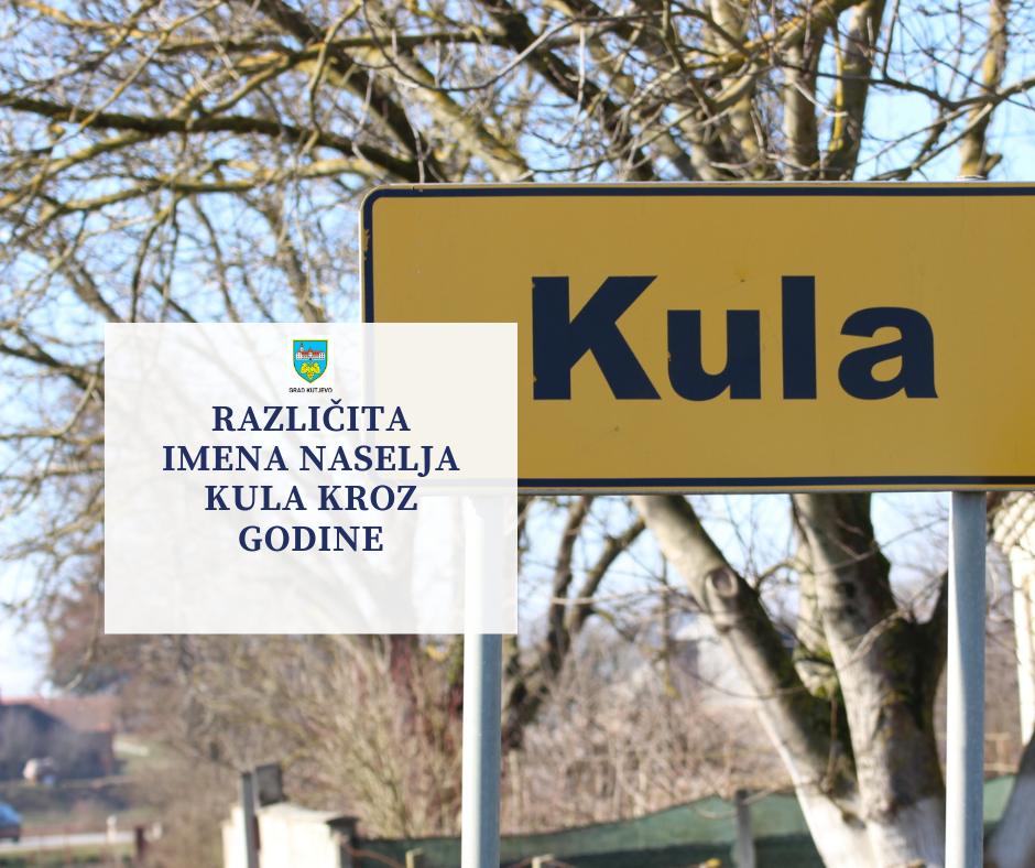 Različita imena naselja Kula kroz godine
